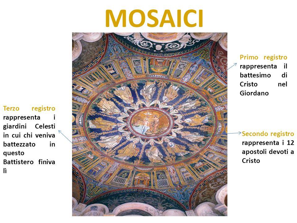 MOSAICI Primo registro rappresenta il battesimo di Cristo nel Giordano Secondo registro rappresenta i 12 apostoli devoti a Cristo Terzo registro rappr