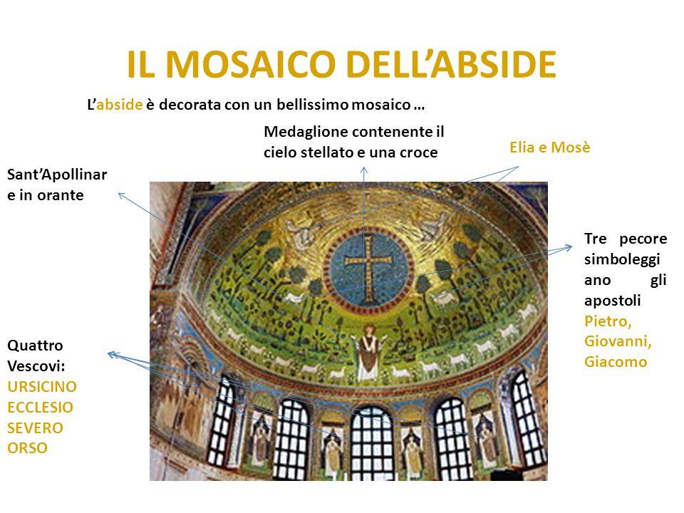 IL MOSAICO DELL'ABSIDE L'abside è decorata con un bellissimo mosaico … Medaglione contenente il cielo stellato e una croce Elia e Mosè Tre pecore simb
