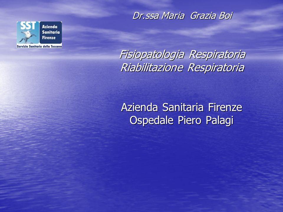 Dr.ssa Maria Grazia Boi Fisiopatologia Respiratoria Riabilitazione Respiratoria Azienda Sanitaria Firenze Ospedale Piero Palagi