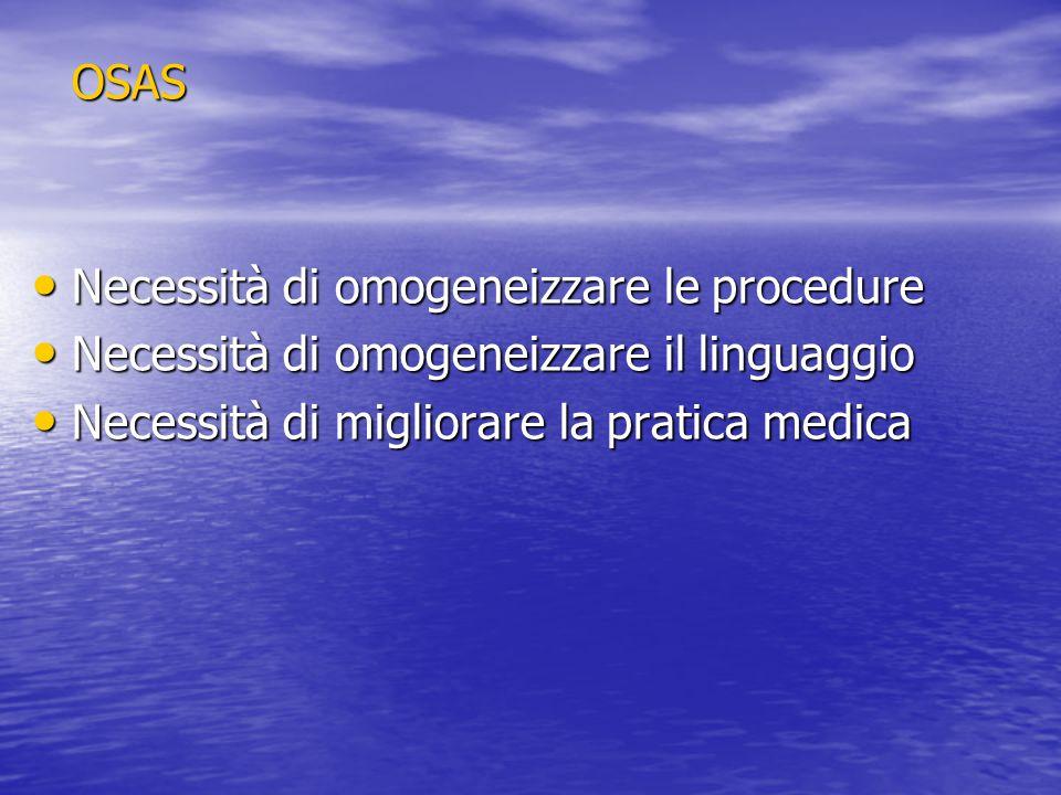 OSAS Necessità di omogeneizzare le procedure Necessità di omogeneizzare le procedure Necessità di omogeneizzare il linguaggio Necessità di omogeneizza
