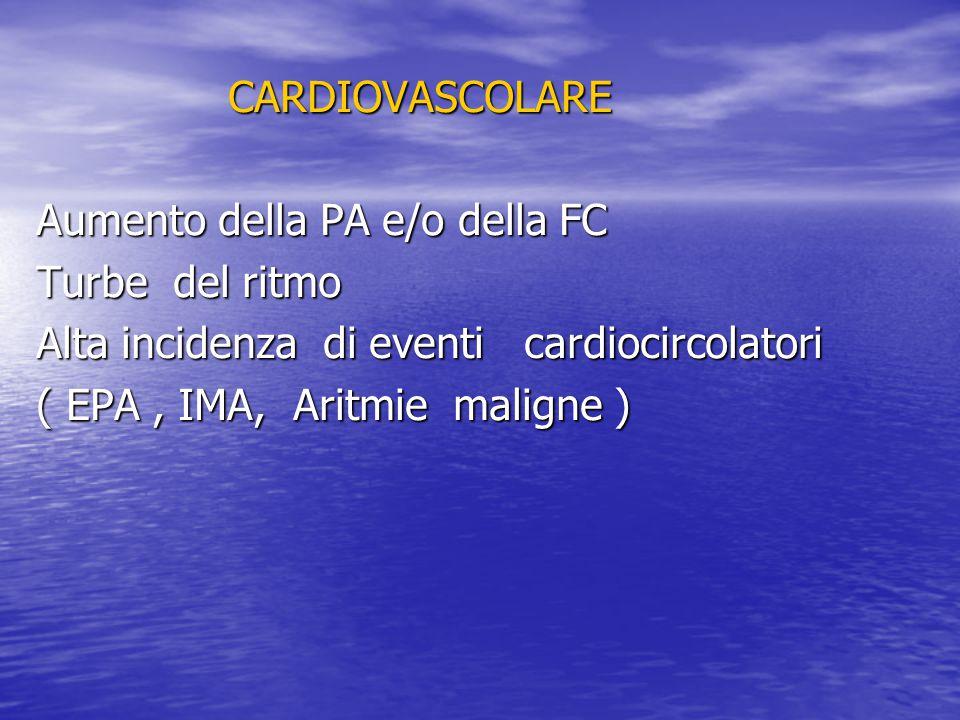 CARDIOVASCOLARE Aumento della PA e/o della FC Turbe del ritmo Alta incidenza di eventi cardiocircolatori ( EPA, IMA, Aritmie maligne )