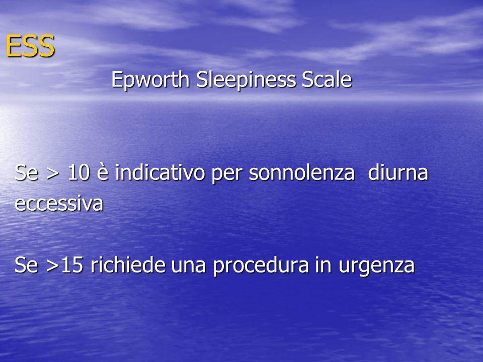 ESS Epworth Sleepiness Scale Se > 10 è indicativo per sonnolenza diurna eccessiva Se >15 richiede una procedura in urgenza