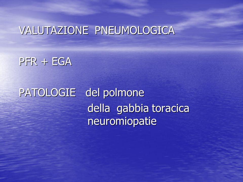 VALUTAZIONE PNEUMOLOGICA PFR + EGA PATOLOGIE del polmone della gabbia toracica neuromiopatie della gabbia toracica neuromiopatie