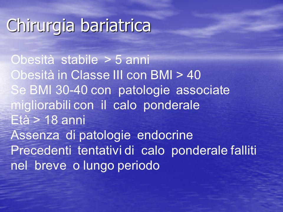 Chirurgia bariatrica Obesità stabile > 5 anni Obesità in Classe III con BMI > 40 Se BMI 30-40 con patologie associate migliorabili con il calo pondera