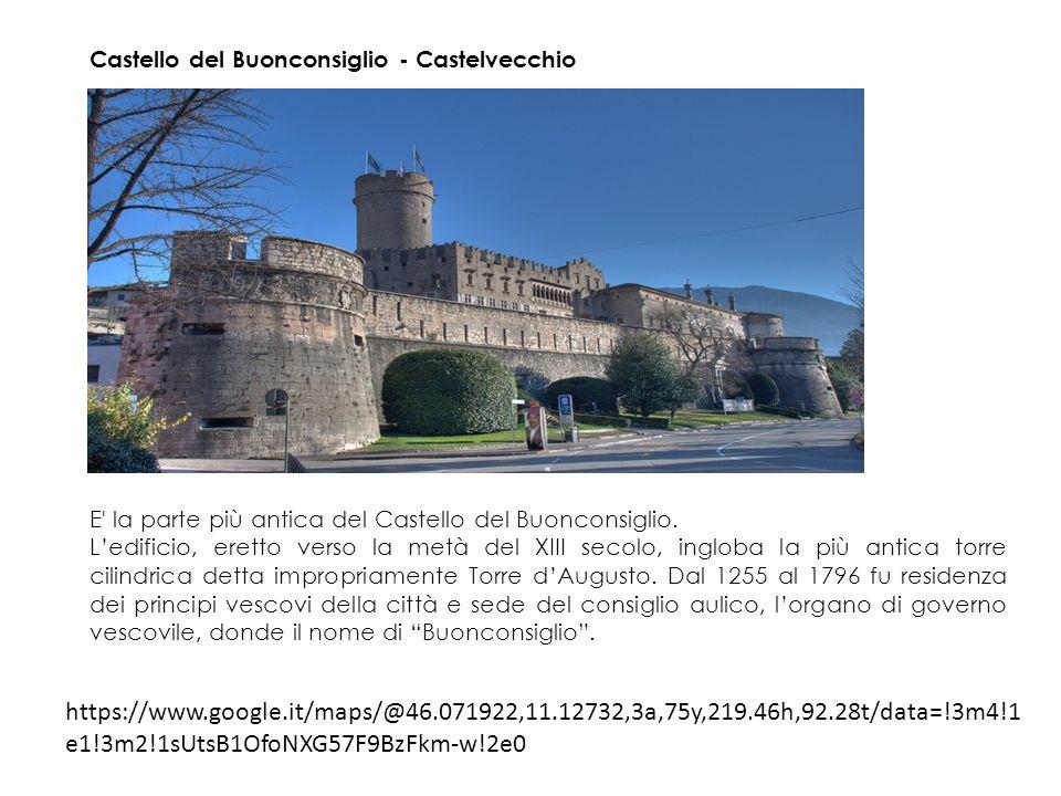 Castello del Buonconsiglio - Torre dell Aquila Eretta sopra l'omonima porta, che si apriva nella cinta muraria della città mettendola in comunicazione con la Valsugana, la torre è nominata per la prima volta in un documento del 1290.