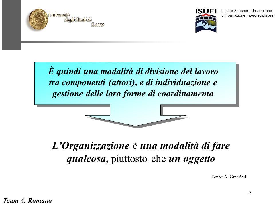 Team A. Romano Istituto Superiore Universitario di Formazione Interdisciplinare 3 L'Organizzazione è una modalità di fare qualcosa, piuttosto che un o