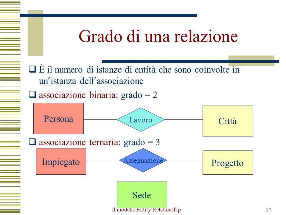 Il modello Entity-Relationship17 Grado di una relazione  È il numero di istanze di entit à che sono coinvolte in un ' istanza dell ' associazione  a
