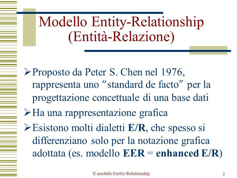 Il modello Entity-Relationship63 Tipi di generalizzazioni  totale se ogni occorrenza dell entità genitore è occorrenza di almeno una delle entità figlie, altrimenti è parziale  esclusiva se ogni occorrenza dell entità genitore è occorrenza di al più una delle entità figlie, altrimenti è sovrapposta  consideriamo (senza perdita di generalità) solo generalizzazioni esclusive e distinguiamo fra totali e parziali