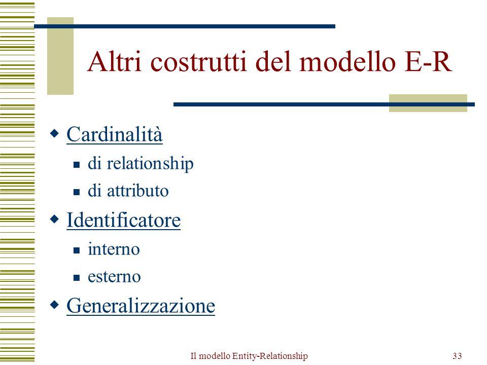 Il modello Entity-Relationship33 Altri costrutti del modello E-R  Cardinalità Cardinalità di relationship di attributo  Identificatore Identificator