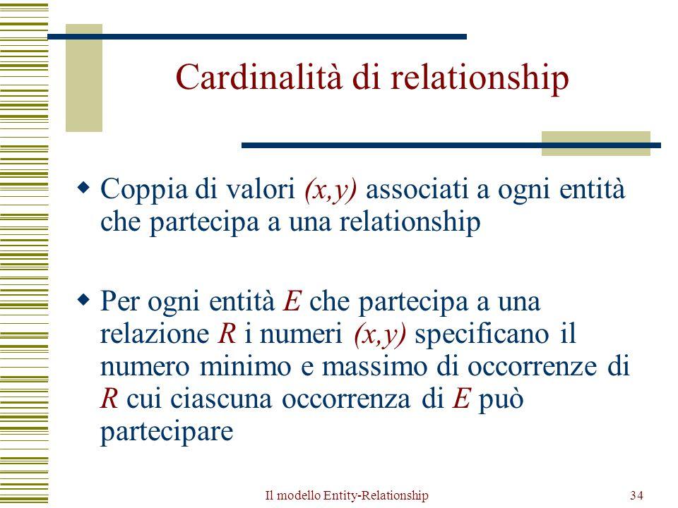 Il modello Entity-Relationship34 Cardinalità di relationship  Coppia di valori (x,y) associati a ogni entità che partecipa a una relationship  Per o