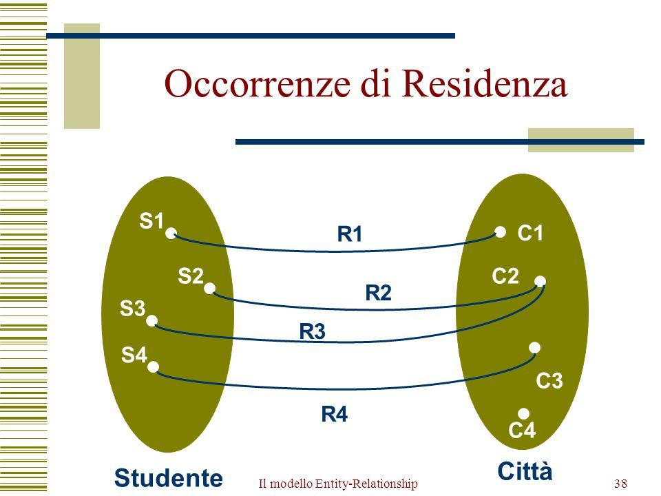 Il modello Entity-Relationship38 Occorrenze di Residenza S1 S2 S4 S3 Studente C1 C2 C3 Città R3 R4 R2 C4 R1
