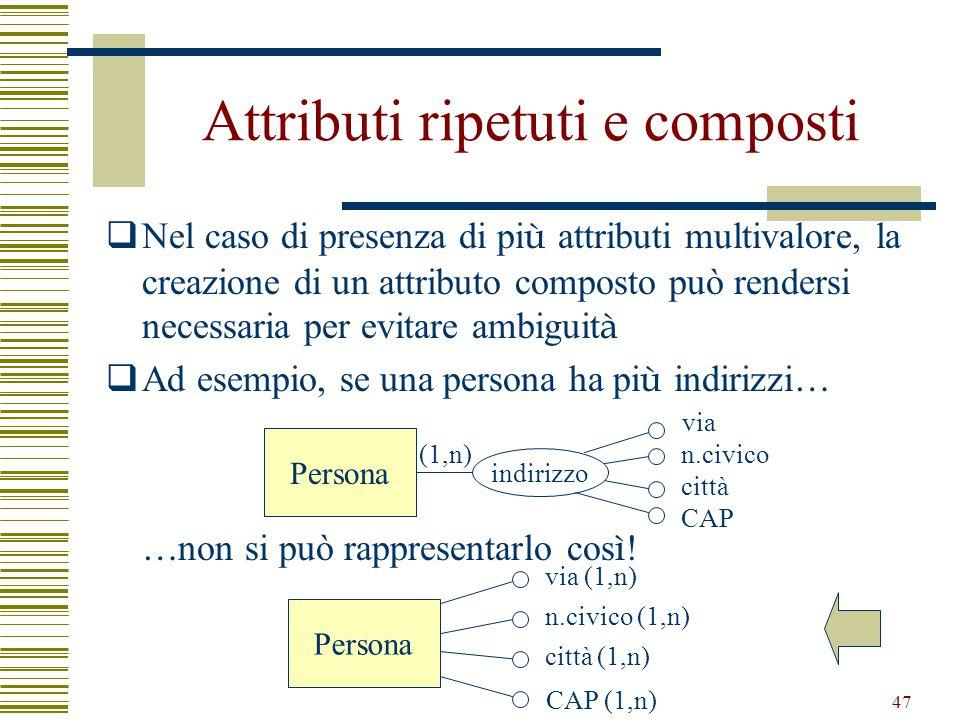 47 Attributi ripetuti e composti  Nel caso di presenza di pi ù attributi multivalore, la creazione di un attributo composto può rendersi necessaria p