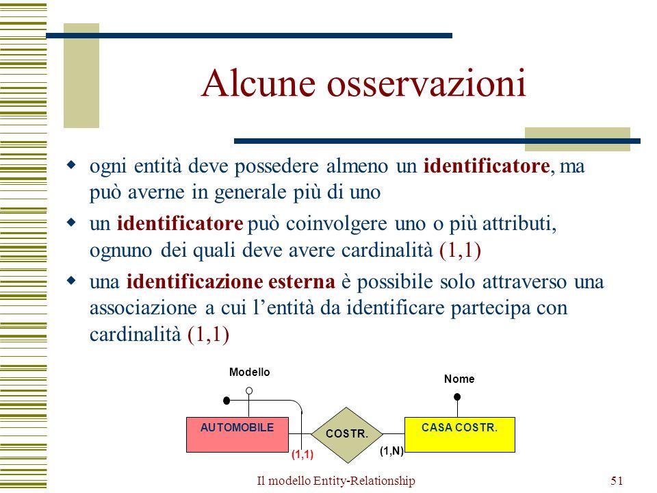 Il modello Entity-Relationship51 Alcune osservazioni  ogni entità deve possedere almeno un identificatore, ma può averne in generale più di uno  un
