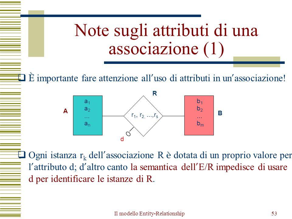 Il modello Entity-Relationship53 Note sugli attributi di una associazione (1)  È importante fare attenzione all ' uso di attributi in un ' associazio