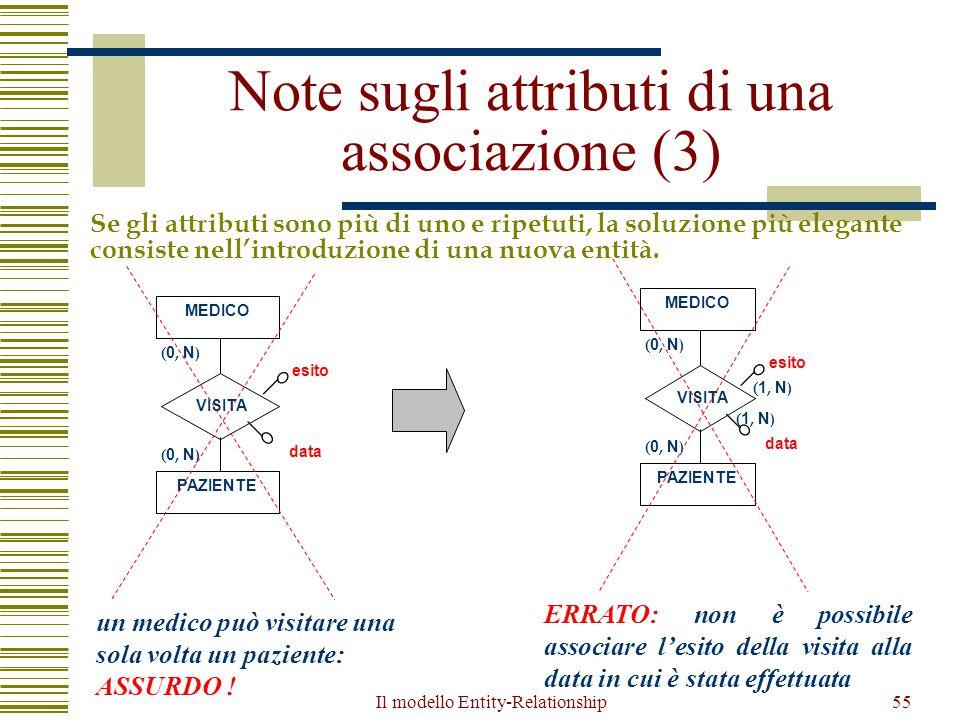 Il modello Entity-Relationship55 Note sugli attributi di una associazione (3) Se gli attributi sono più di uno e ripetuti, la soluzione più elegante c