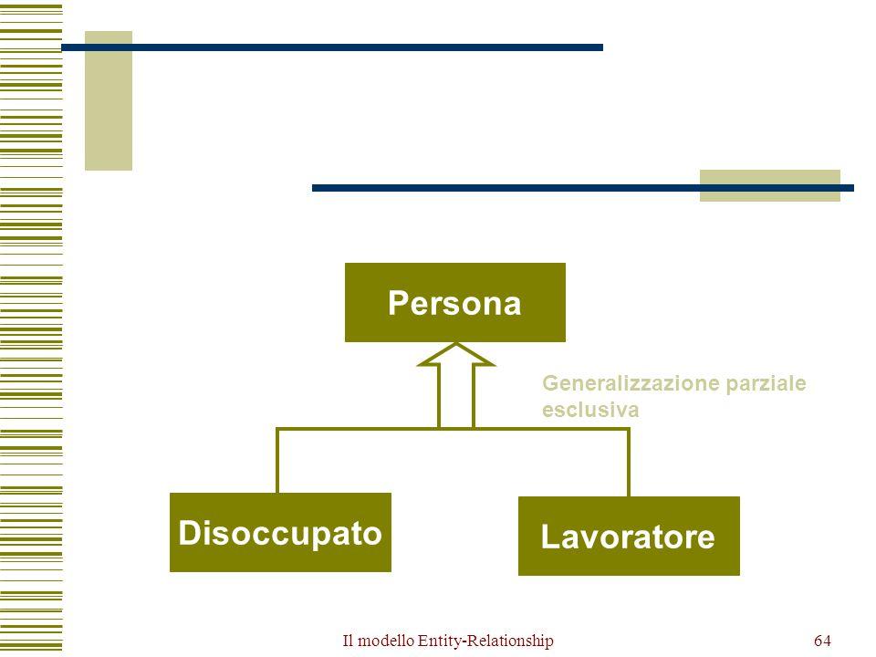 Il modello Entity-Relationship64 Disoccupato Lavoratore Persona Generalizzazione parziale esclusiva