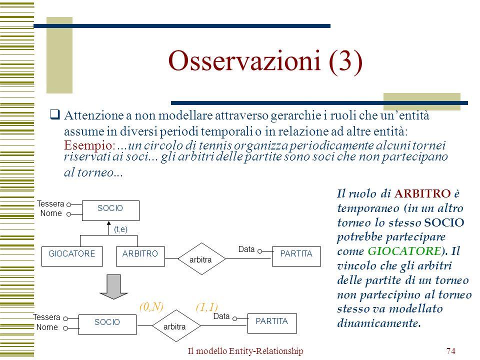 Il modello Entity-Relationship74 Osservazioni (3)  Attenzione a non modellare attraverso gerarchie i ruoli che un'entità assume in diversi periodi te