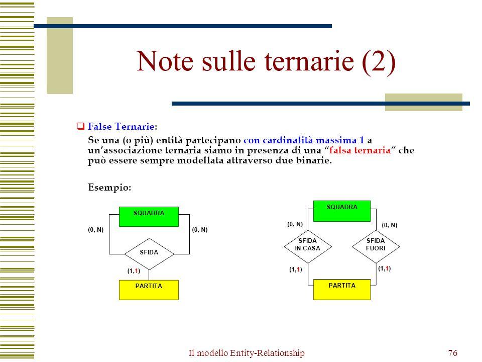Il modello Entity-Relationship76 Note sulle ternarie (2)
