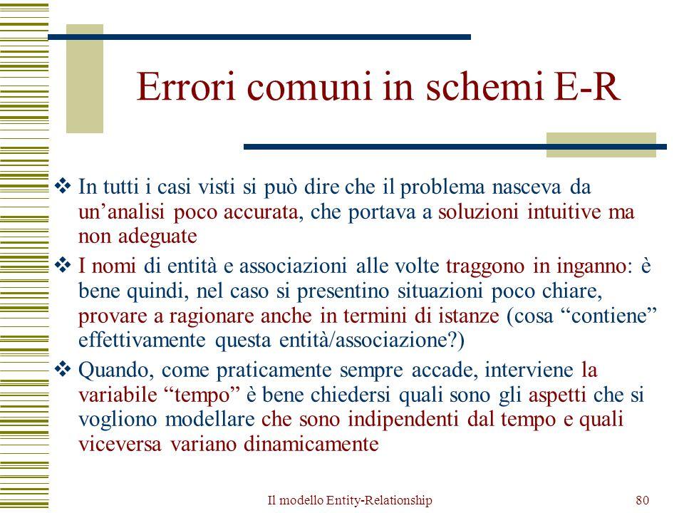 Il modello Entity-Relationship80 Errori comuni in schemi E-R  In tutti i casi visti si può dire che il problema nasceva da un'analisi poco accurata,