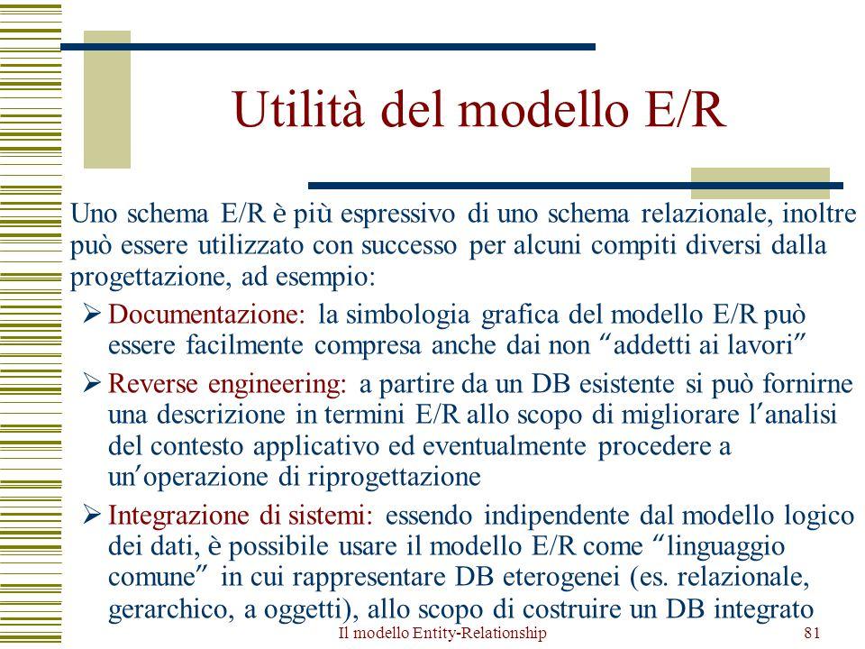 Il modello Entity-Relationship81 Utilità del modello E/R Uno schema E/R è pi ù espressivo di uno schema relazionale, inoltre può essere utilizzato con