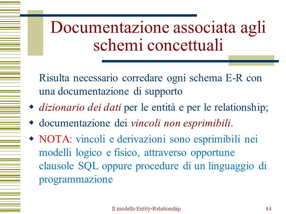 Il modello Entity-Relationship84 Documentazione associata agli schemi concettuali Risulta necessario corredare ogni schema E-R con una documentazione