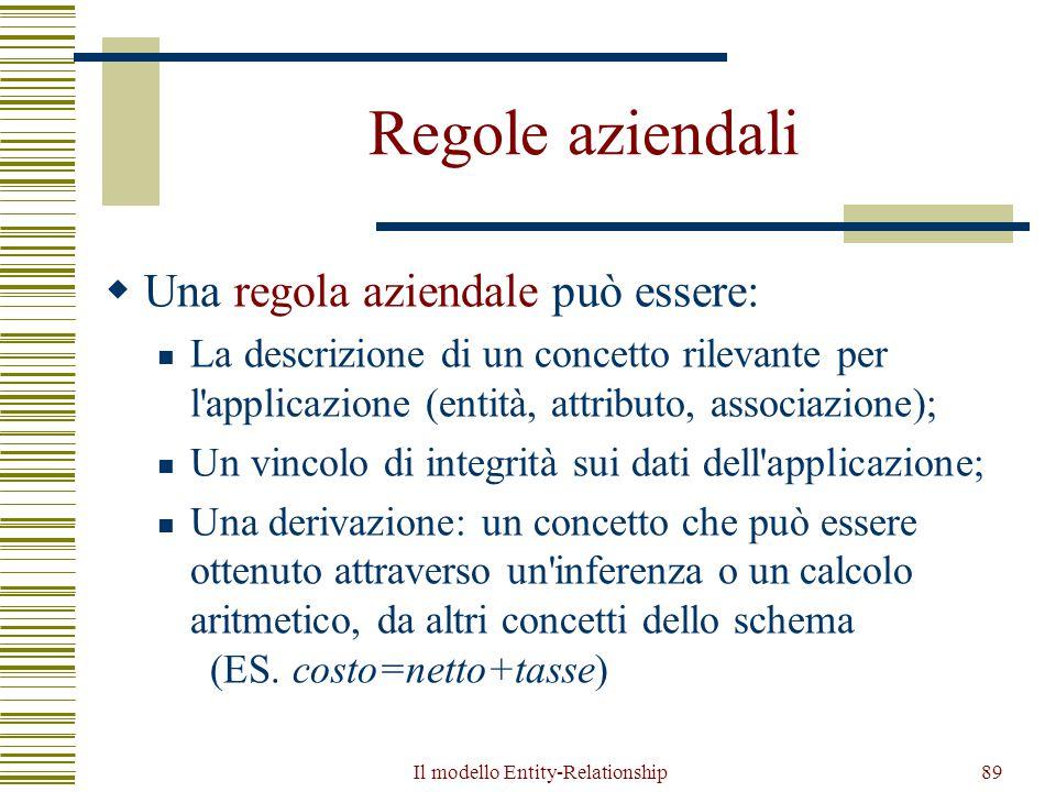 Il modello Entity-Relationship89 Regole aziendali  Una regola aziendale può essere: La descrizione di un concetto rilevante per l'applicazione (entit