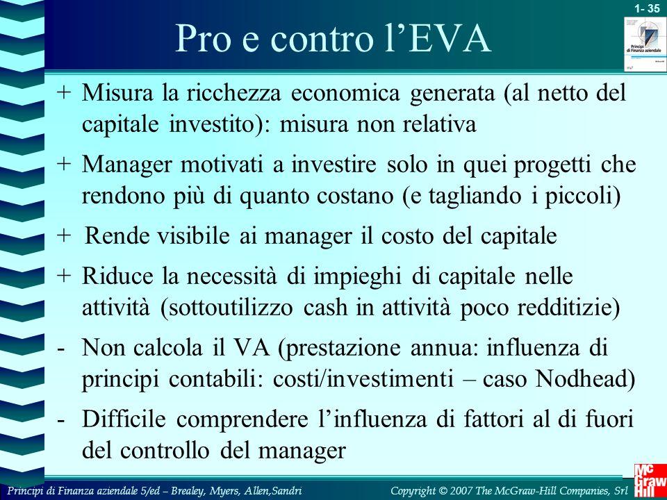 1- 35 Copyright © 2007 The McGraw-Hill Companies, SrlPrincipi di Finanza aziendale 5/ed – Brealey, Myers, Allen,Sandri Pro e contro l'EVA +Misura la r