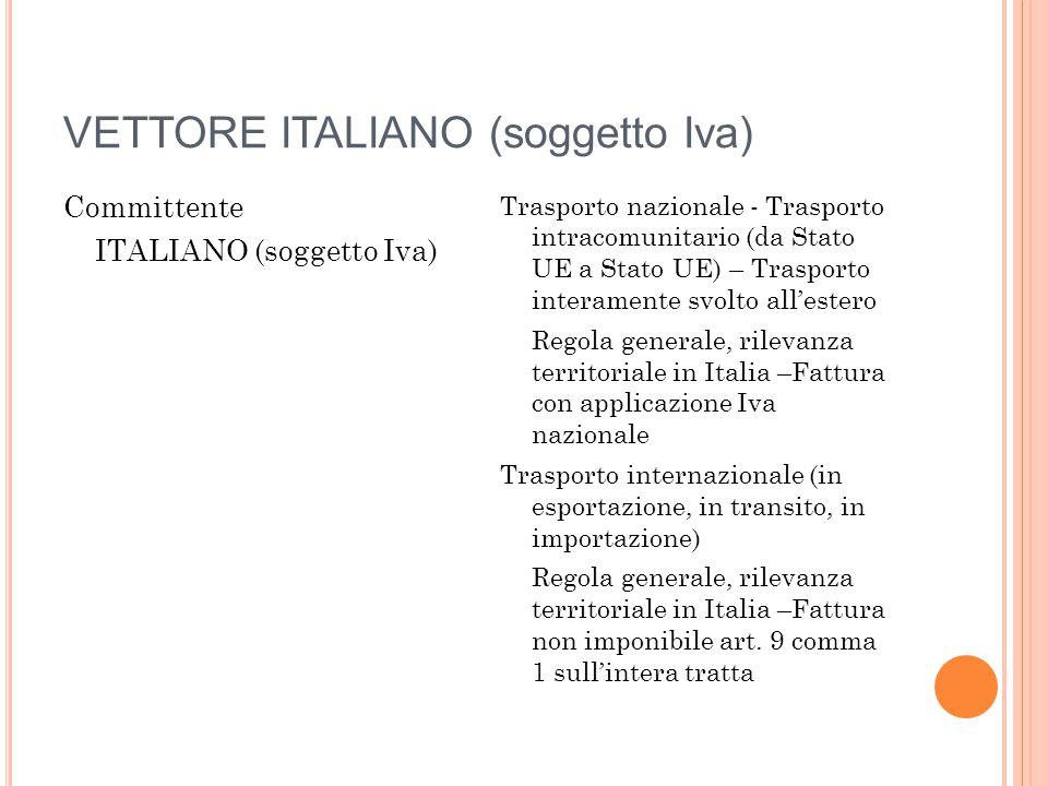 VETTORE ITALIANO (soggetto Iva) Committente ITALIANO (soggetto Iva) Trasporto nazionale - Trasporto intracomunitario (da Stato UE a Stato UE) – Traspo