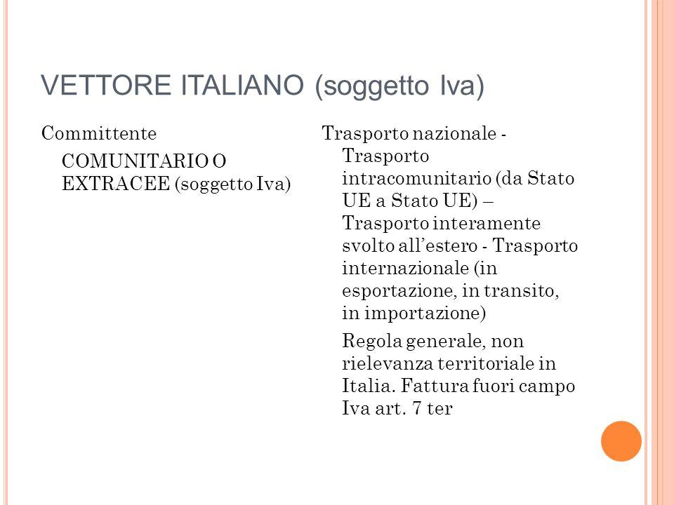 VETTORE ITALIANO (soggetto Iva) Committente COMUNITARIO O EXTRACEE (soggetto Iva) Trasporto nazionale - Trasporto intracomunitario (da Stato UE a Stat