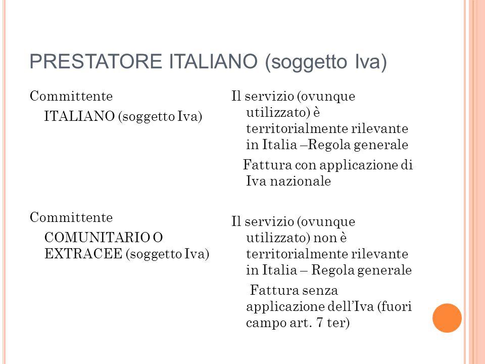 PRESTATORE ITALIANO (soggetto Iva) Committente ITALIANO (soggetto Iva) Committente COMUNITARIO O EXTRACEE (soggetto Iva) Il servizio (ovunque utilizza