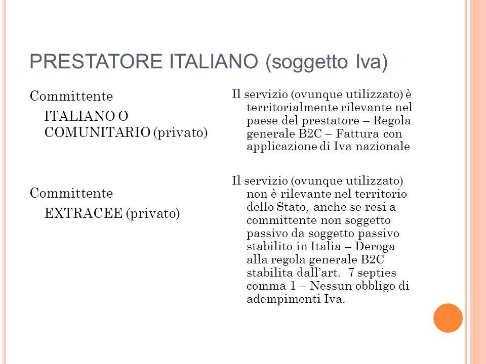 PRESTATORE ITALIANO (soggetto Iva) Committente ITALIANO O COMUNITARIO (privato) Committente EXTRACEE (privato) Il servizio (ovunque utilizzato) è terr