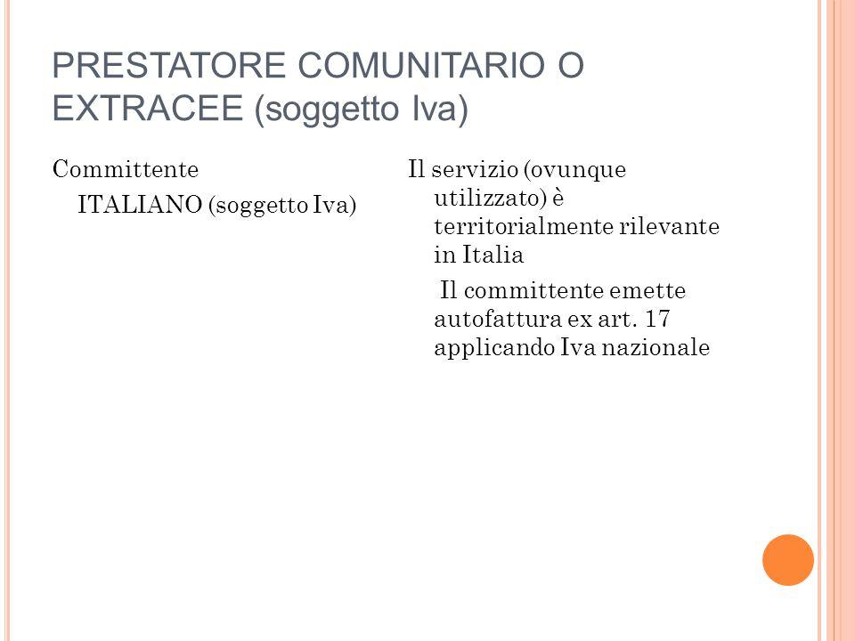 PRESTATORE COMUNITARIO O EXTRACEE (soggetto Iva) Committente ITALIANO (soggetto Iva) Il servizio (ovunque utilizzato) è territorialmente rilevante in