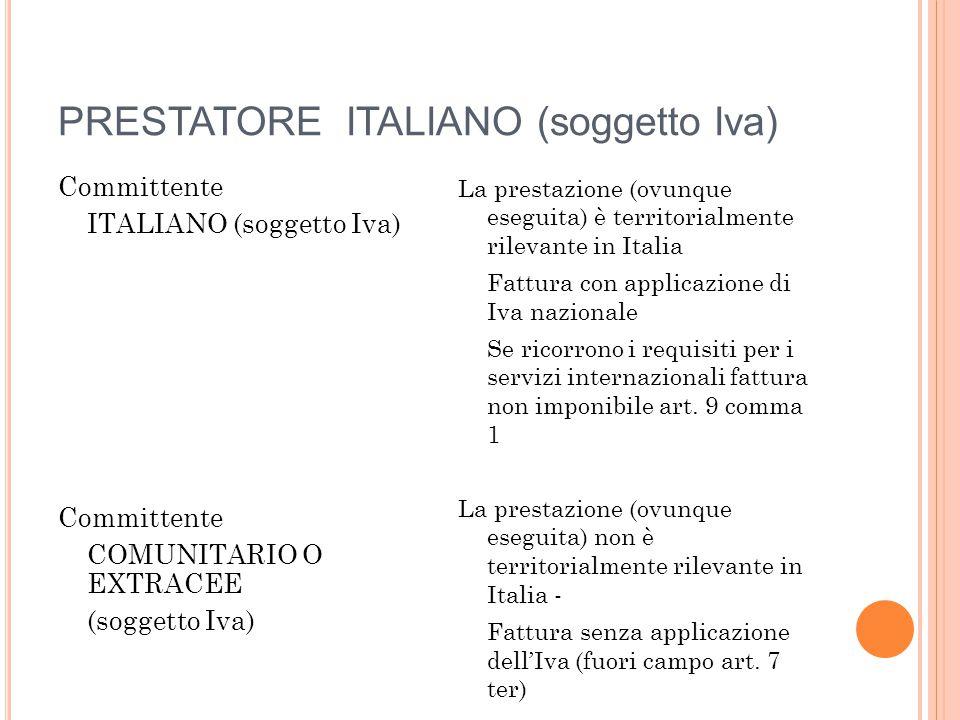 PRESTATOREITALIANO (soggetto Iva) Committente ITALIANO (soggetto Iva) Committente COMUNITARIO O EXTRACEE (soggetto Iva) La prestazione (ovunque esegui