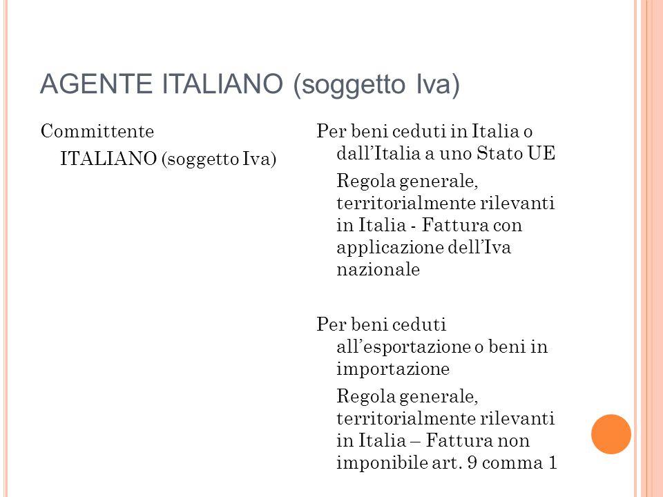 AGENTE ITALIANO (soggetto Iva) Committente ITALIANO (soggetto Iva) Committente COMUNITARIO O EXTRACEE (soggetto Iva) Per beni ceduti da paese Extracee a paese Extracee Regola generale, territorialmente rilevanti in Italia – Fattura non imponibile art.