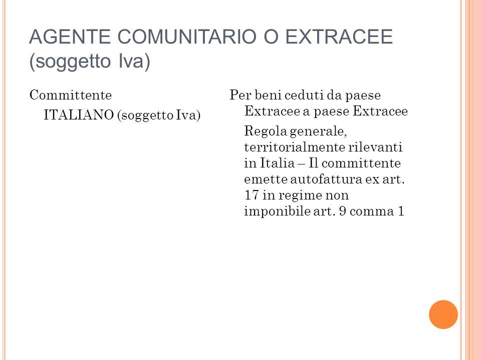 AGENTE COMUNITARIO O EXTRACEE (soggetto Iva) Committente ITALIANO (soggetto Iva) Per beni ceduti da paese Extracee a paese Extracee Regola generale, t