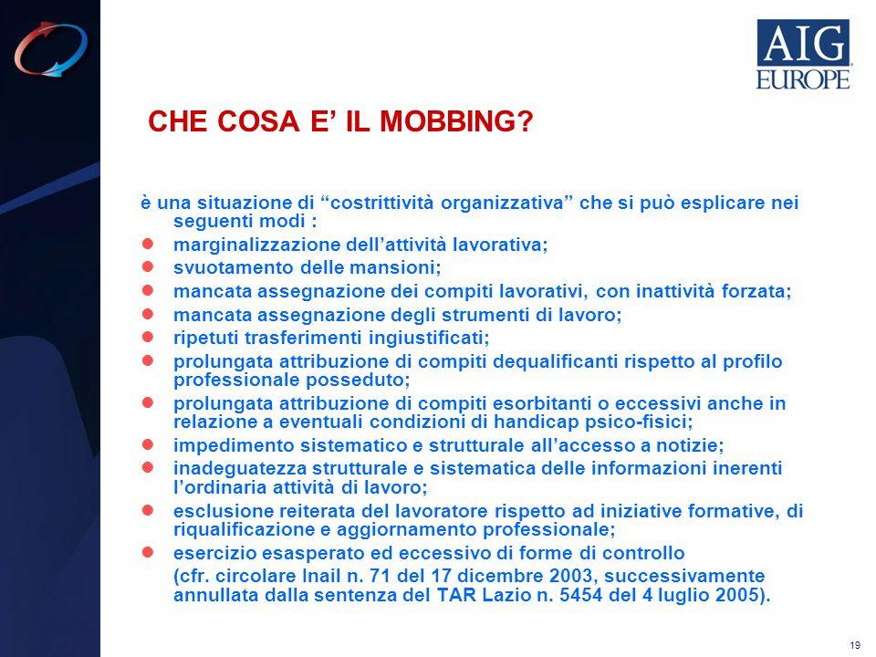"""19 CHE COSA E' IL MOBBING? è una situazione di """"costrittività organizzativa"""" che si può esplicare nei seguenti modi : marginalizzazione dell'attività"""