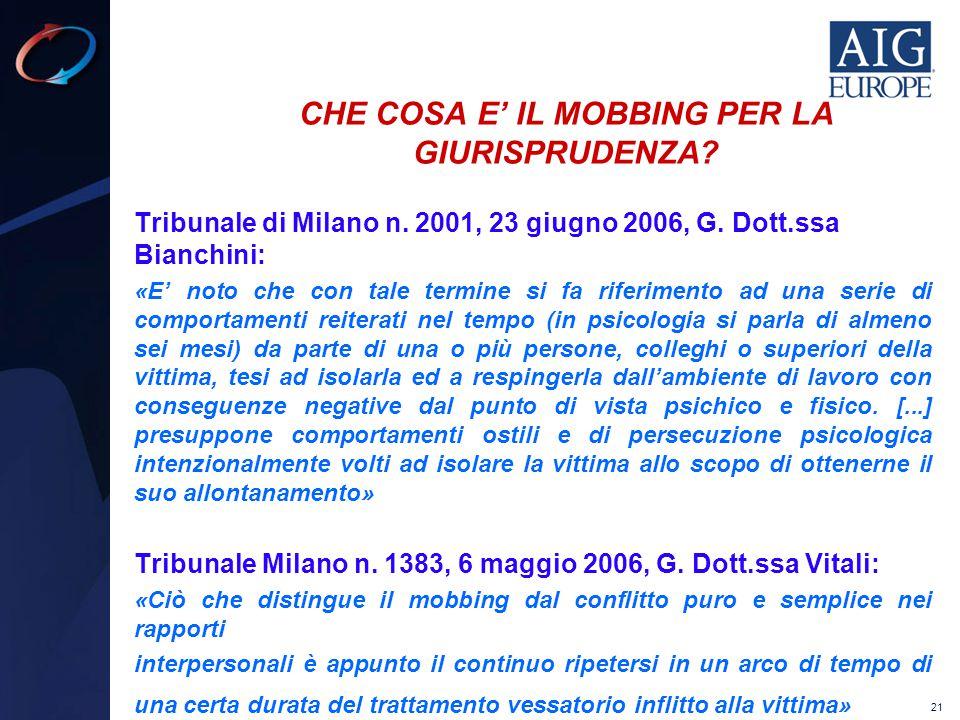 21 CHE COSA E' IL MOBBING PER LA GIURISPRUDENZA? Tribunale di Milano n. 2001, 23 giugno 2006, G. Dott.ssa Bianchini: «E' noto che con tale termine si