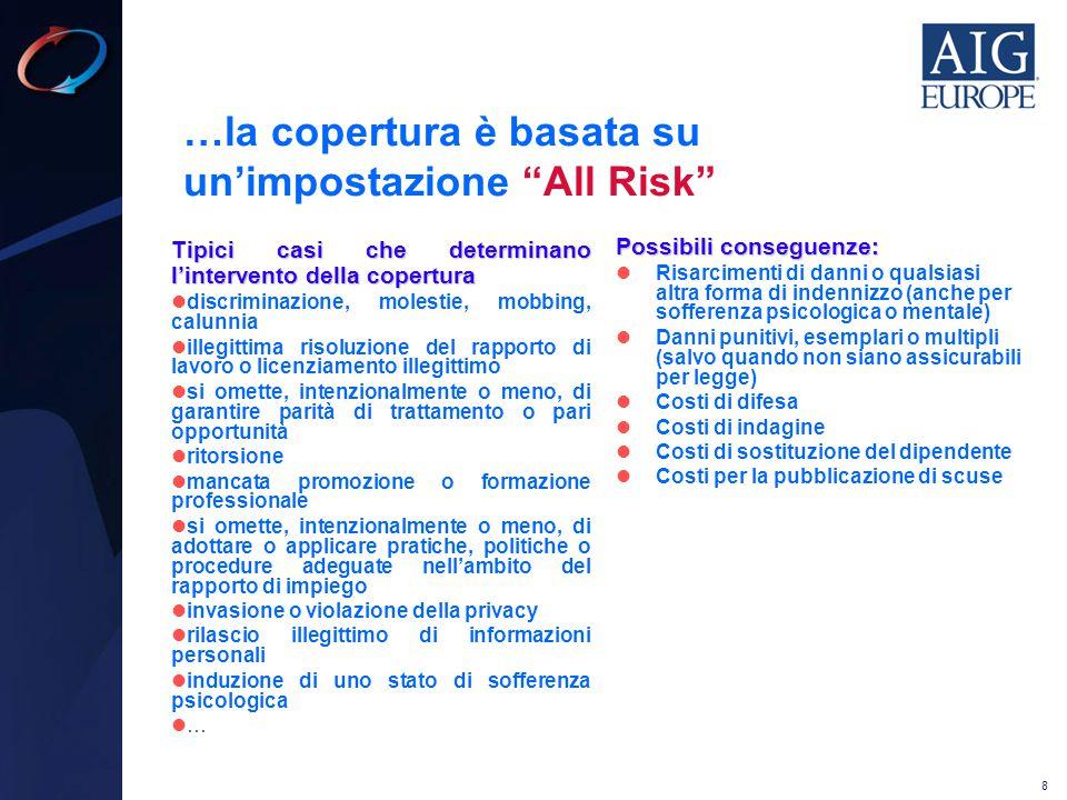 """8 …la copertura è basata su un'impostazione """"All Risk"""" Tipici casi che determinano l'intervento della copertura discriminazione, molestie, mobbing, ca"""