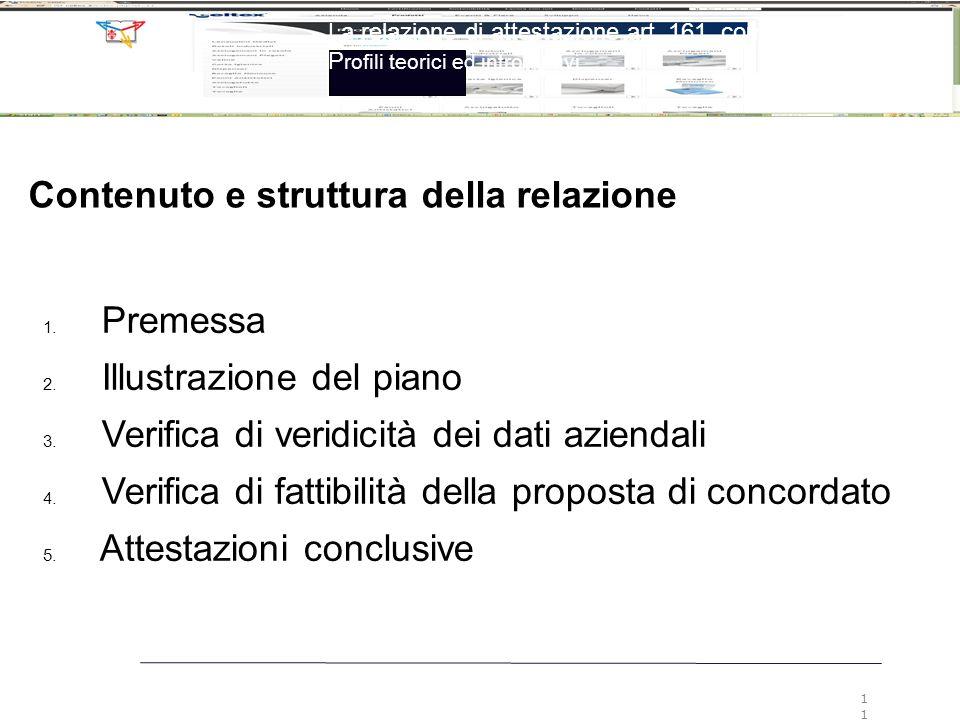 Contenuto e struttura della relazione 1. Premessa 2. Illustrazione del piano 3. Verifica di veridicità dei dati aziendali 4. Verifica di fattibilità d