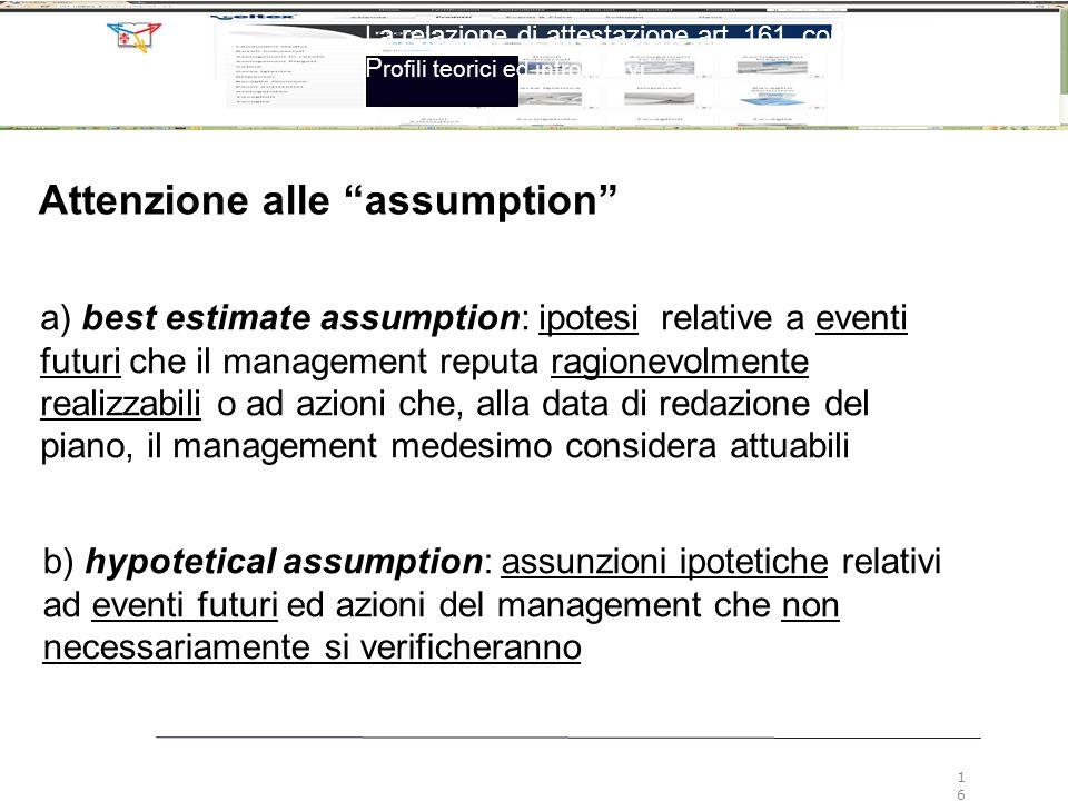 """Attenzione alle """"assumption"""" a) best estimate assumption: ipotesi relative a eventi futuri che il management reputa ragionevolmente realizzabili o ad"""