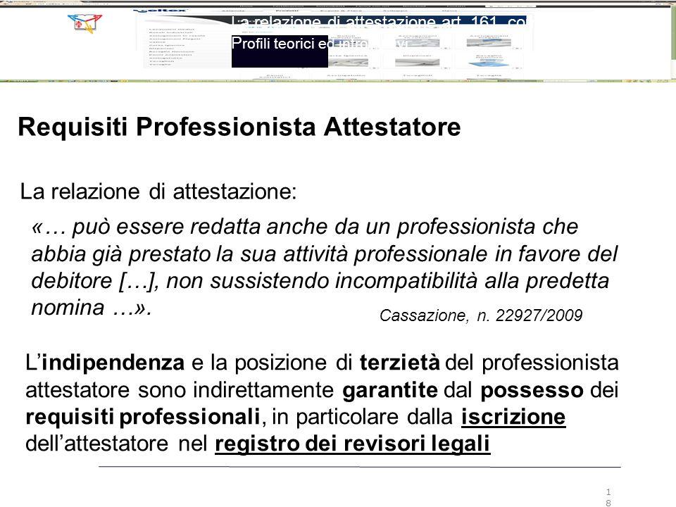 Requisiti Professionista Attestatore «… può essere redatta anche da un professionista che abbia già prestato la sua attività professionale in favore d