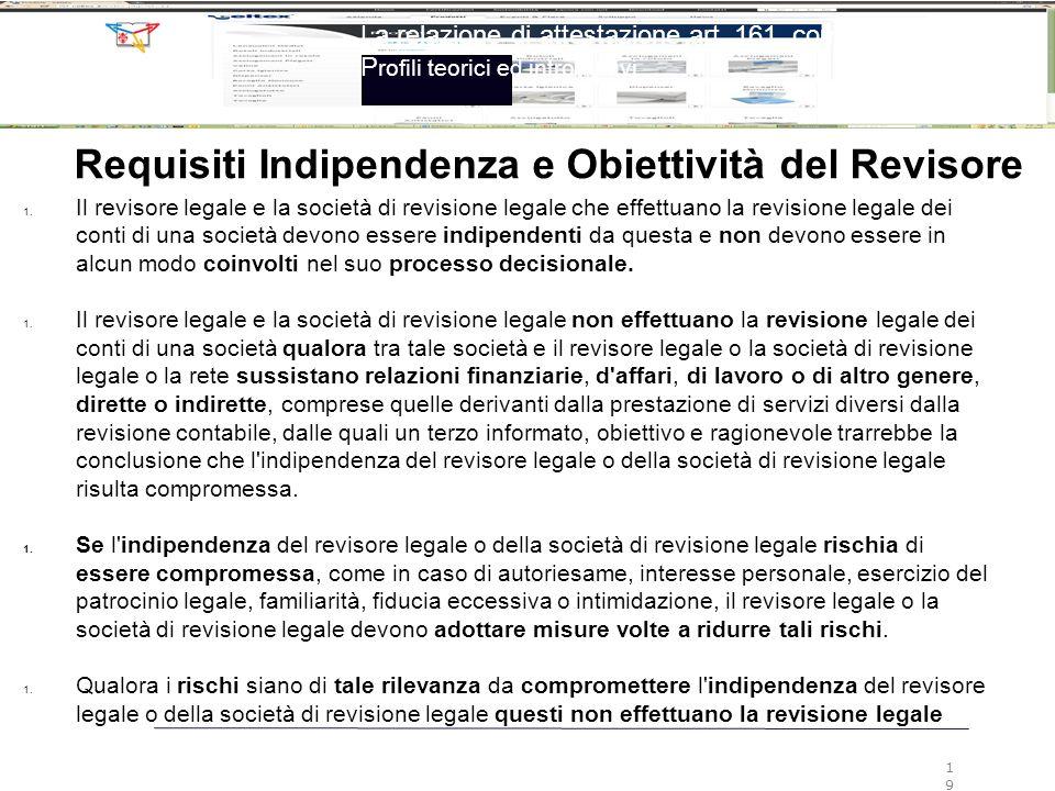 Requisiti Indipendenza e Obiettività del Revisore 1. Il revisore legale e la società di revisione legale che effettuano la revisione legale dei conti