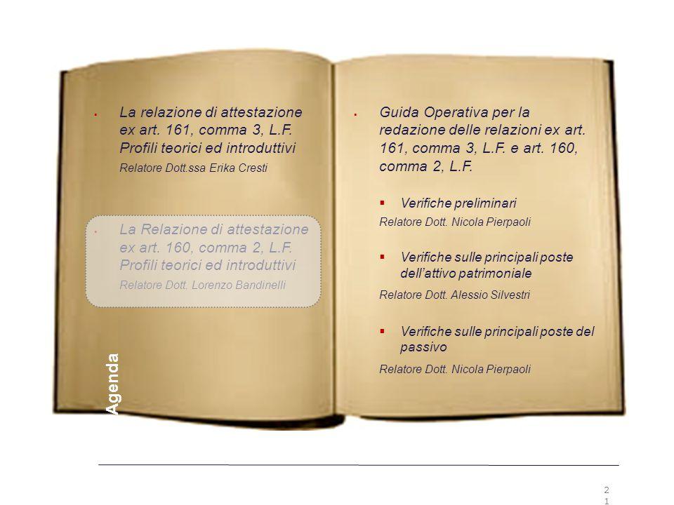 21 Premesse  Guida Operativa per la redazione delle relazioni ex art. 161, comma 3, L.F. e art. 160, comma 2, L.F.  Verifiche preliminari Relatore D