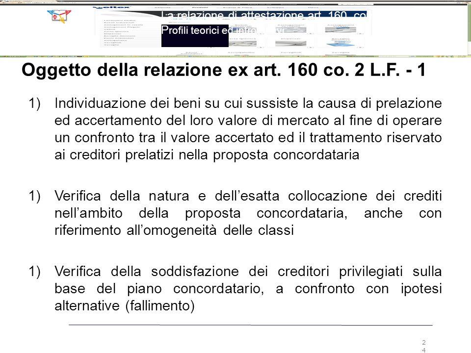 La relazione di attestazione art. 160, comma 2, LF P rofili teorici ed introduttivi 24 Oggetto della relazione ex art. 160 co. 2 L.F. - 1 1) Individua