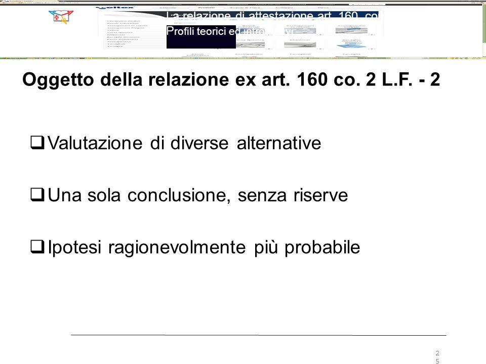 La relazione di attestazione art. 160, comma 2, LF P rofili teorici ed introduttivi 25 Oggetto della relazione ex art. 160 co. 2 L.F. - 2  Valutazion