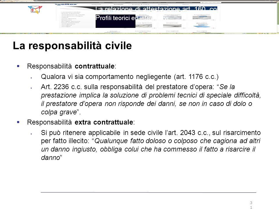 La relazione di attestazione art. 160, comma 2, LF P rofili teorici ed introduttivi 31 La responsabilità civile  Responsabilità contrattuale:  Qualo