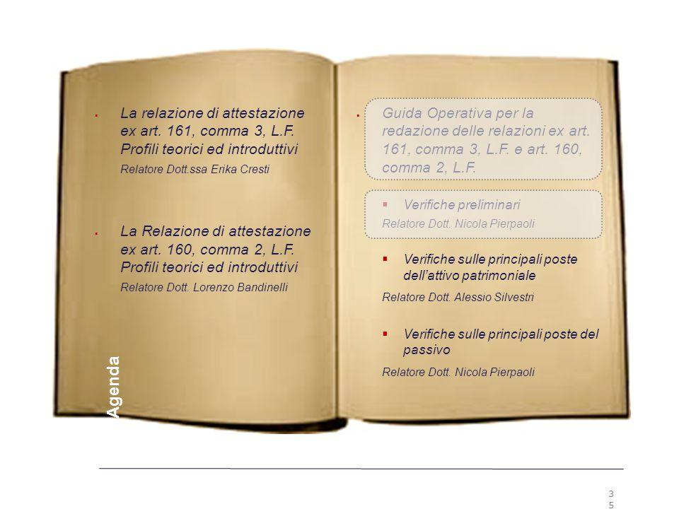 35 Premesse  Guida Operativa per la redazione delle relazioni ex art. 161, comma 3, L.F. e art. 160, comma 2, L.F.  Verifiche preliminari Relatore D