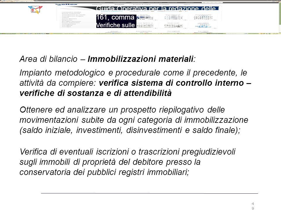 Area di bilancio – Immobilizzazioni materiali: Impianto metodologico e procedurale come il precedente, le attività da compiere: verifica sistema di co