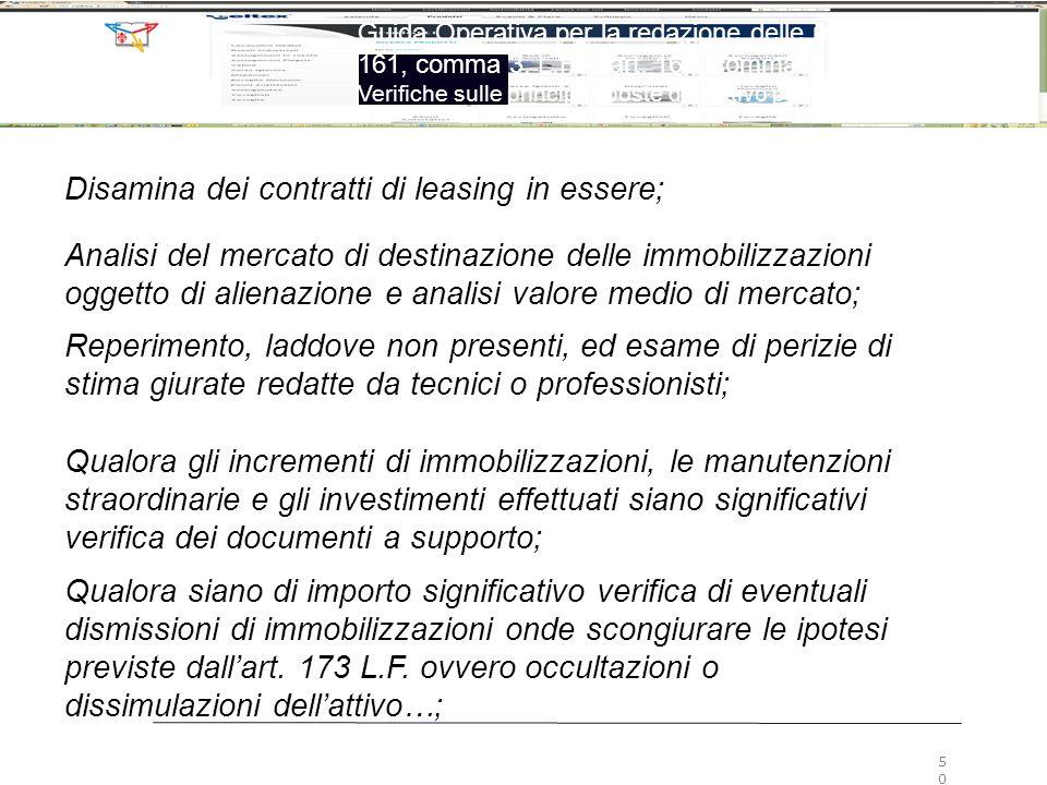 Analisi del mercato di destinazione delle immobilizzazioni oggetto di alienazione e analisi valore medio di mercato; Reperimento, laddove non presenti