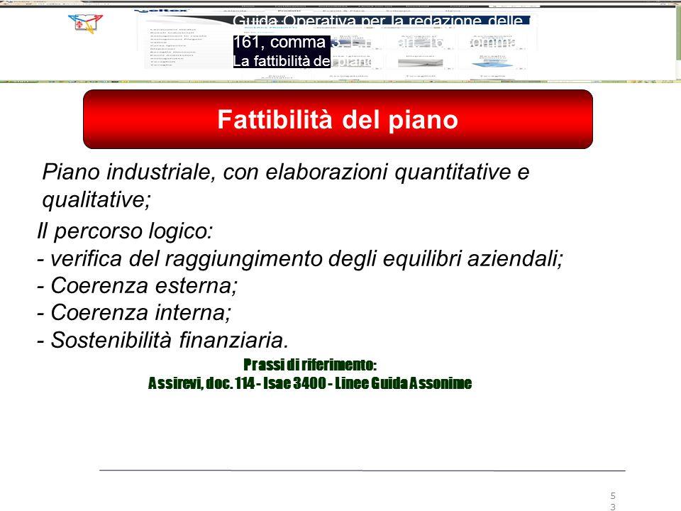 Il percorso logico: - verifica del raggiungimento degli equilibri aziendali; - Coerenza esterna; - Coerenza interna; - Sostenibilità finanziaria. Pian